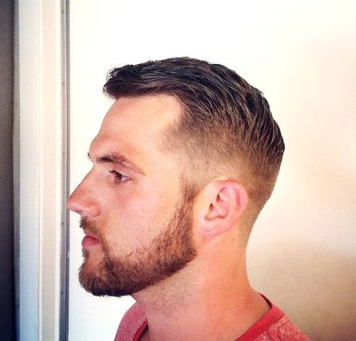 tapered haircut with a beard
