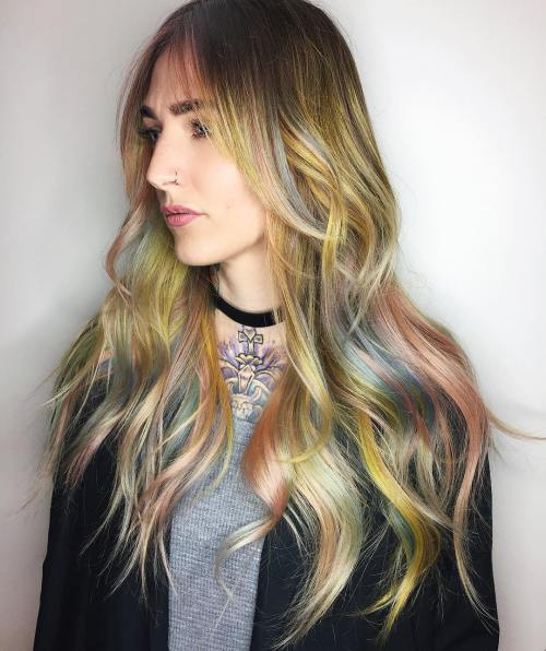 Long Pastel Colored Hair