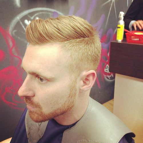 Red Side Part Hairstyle For Men