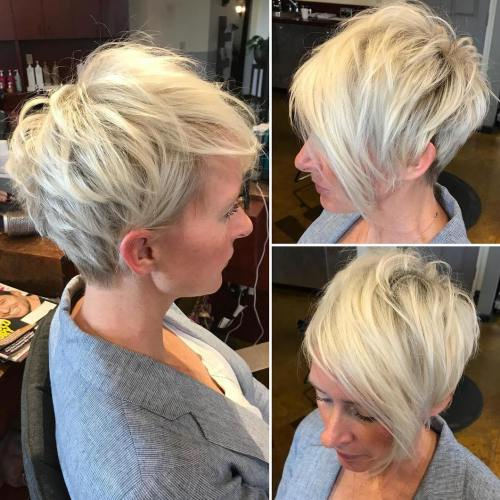 Shaggy Blonde Pixie With Long Bangs