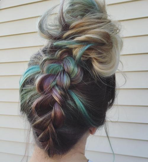Upside Down Braid Into Bun Updo