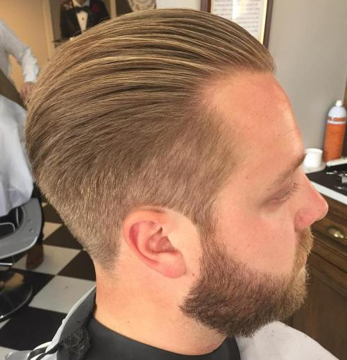 Brushed Back Taper Haircut With Beard