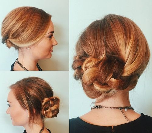 loose low braided bun