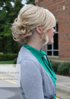 casual messy updo for wavy hair
