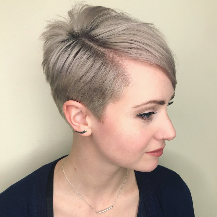 Ash Blonde Tapered Cut With Side Bangs