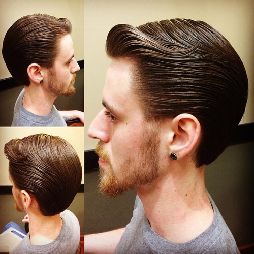 slicked back wet look hairstyle for men