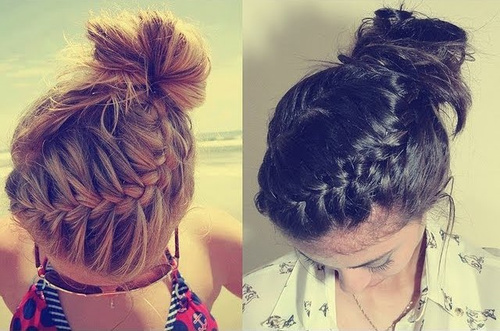 easy braided updo for medium length hair