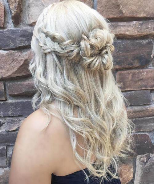 Blonde Half Updo With Braids And Bun