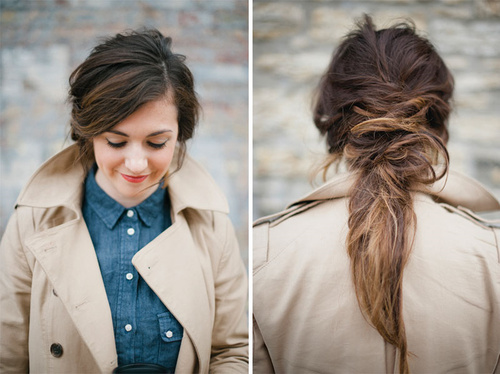 causal messy pony hairstyle