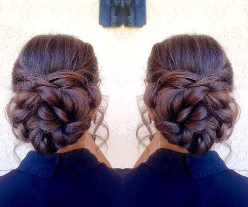 braided bun for thick hair