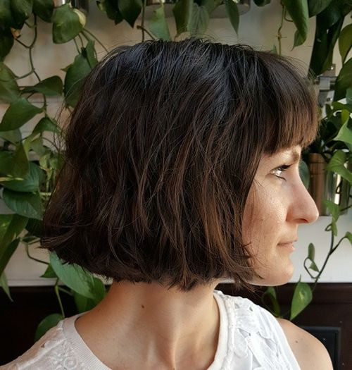 chin-length textured bob with bangs