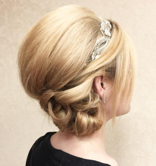 Side Bun With A Bouffant For Shorter Hair