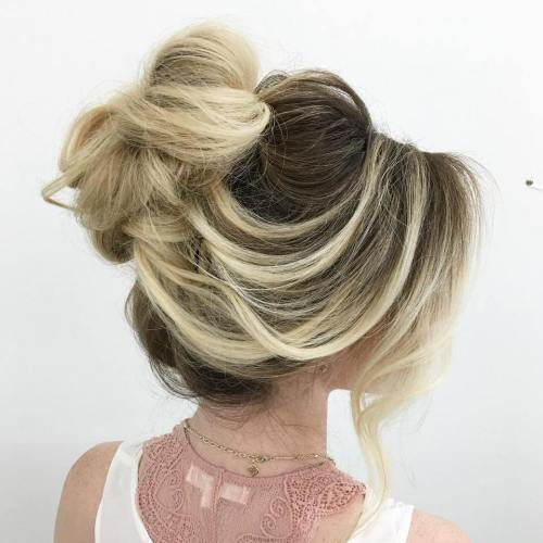 30 quick and easy updos for long hair loose loopy bun updo urmus Images