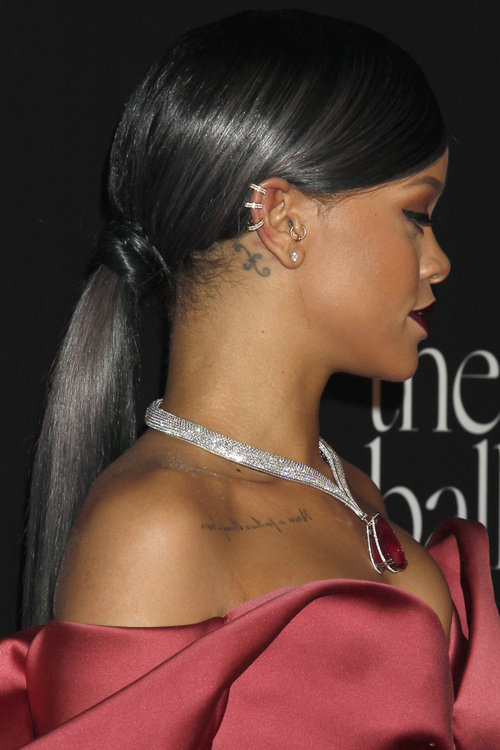 Rihanna sleek low ponytail hairstyle