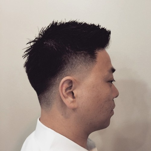 Asian men spiky cut with temple and nape fade