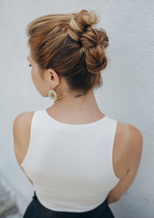 easy triple bun updo for long length