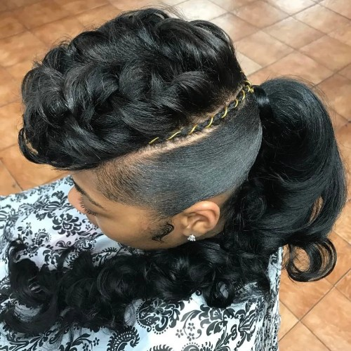 African American Curled Ponytail