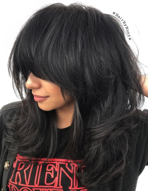 Medium Layered Haircut With Long Bangs
