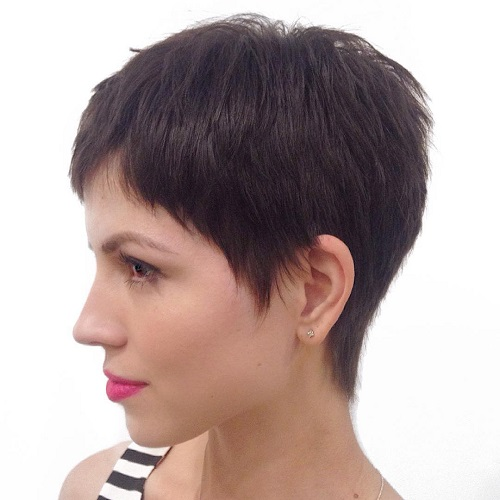 Short Brunette Layered Pixie