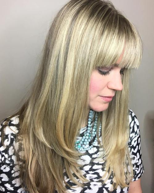 Blunt Bangs For Long Layered Hair