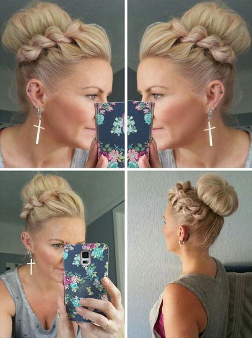 high sock bun with a side twist