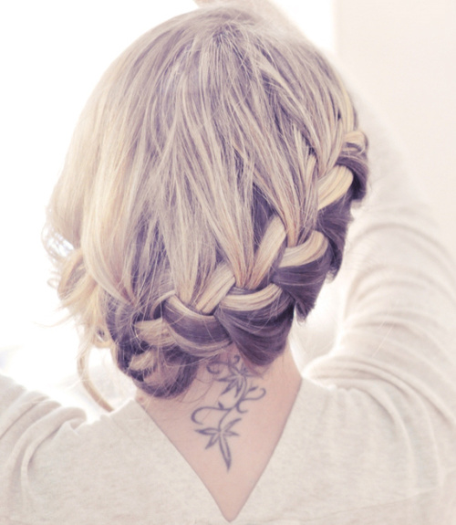 easy braided updo for medium length