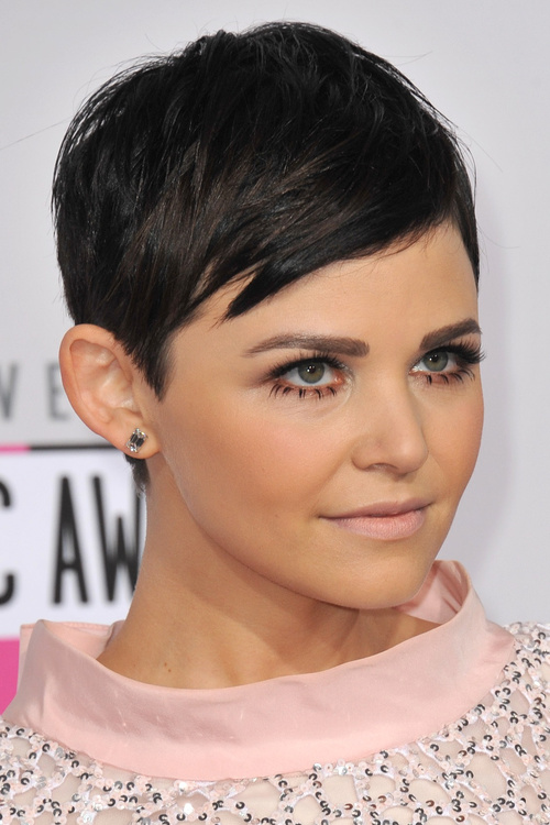 classic pixie haircut with side bangs