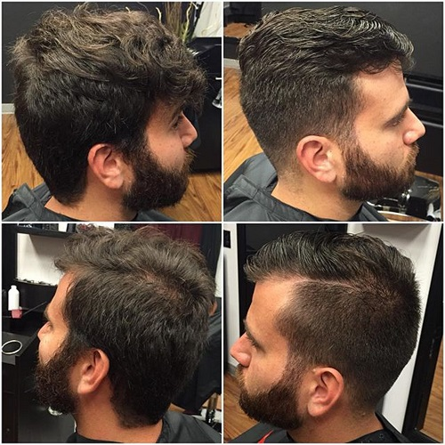 side part and facial hairstyle