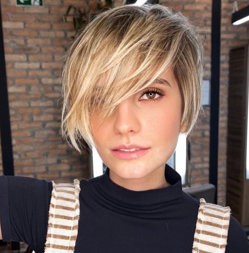 Long Pixie with Blonde Ombre and Bangs