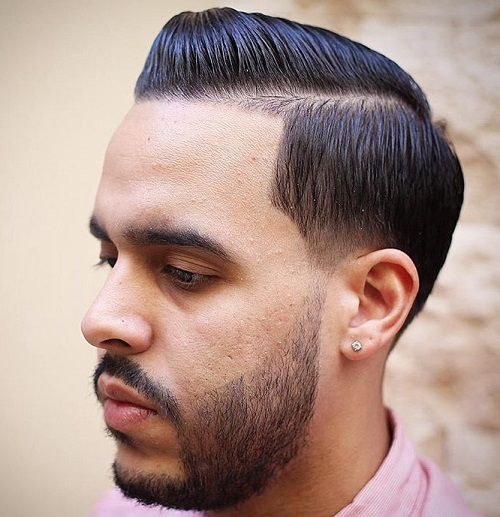 men's sleek side part hairstyle