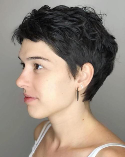 Dark Brown Textured Pixie Cut