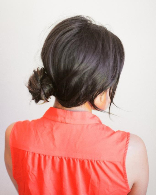 easy side knot updo for medium hair