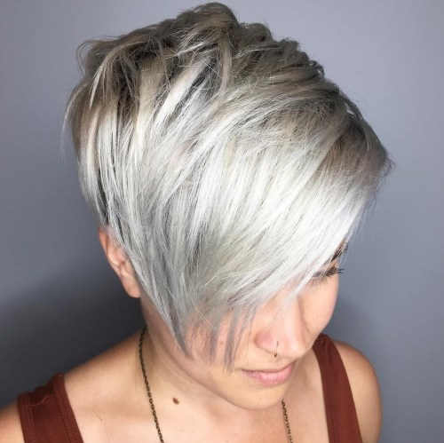 Chopped Blonde Pixie with Long Bangs