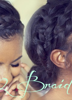 black braided updo with 2 crown braids