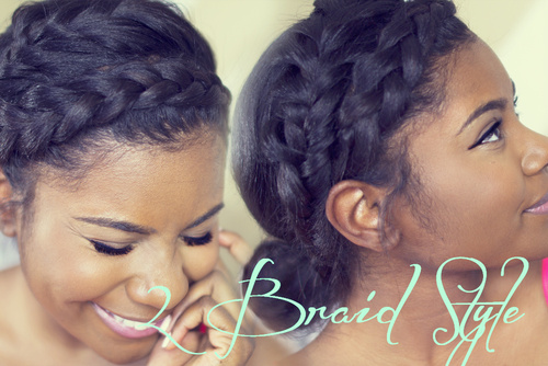 black braided updo with 2 crown braids