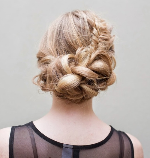 Loose Asymmetrical Braided Updo