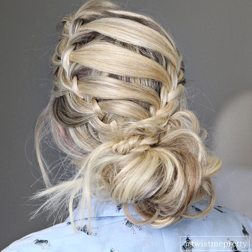 Low Messy Bun With Crown Braid