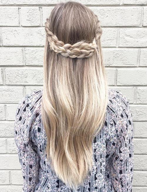 crown braid half updo for long hair