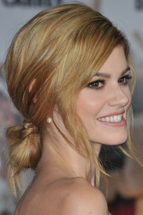 loose low bun hairstyle for long hair