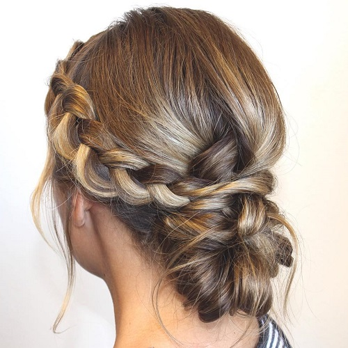 Side Braid And Low Bun