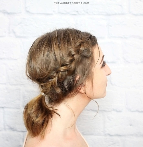 60 updos for short hair your creative short hair inspiration braided updo with a pony for short hair urmus Image collections