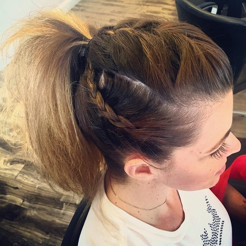 Ponytail With Top And Side Braids