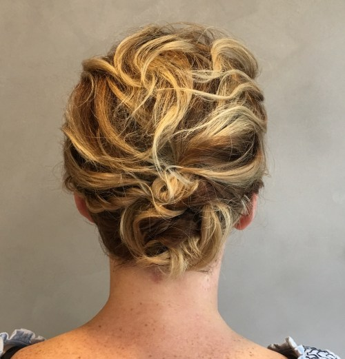Short Hair Messy Curly Updo