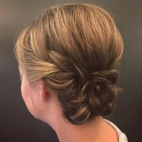 Low Braided Short Hair Updo