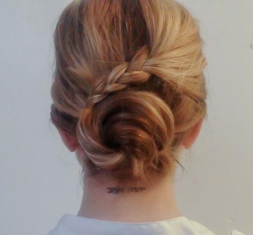 bun and braid updo