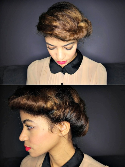 vintage updo for natural hair