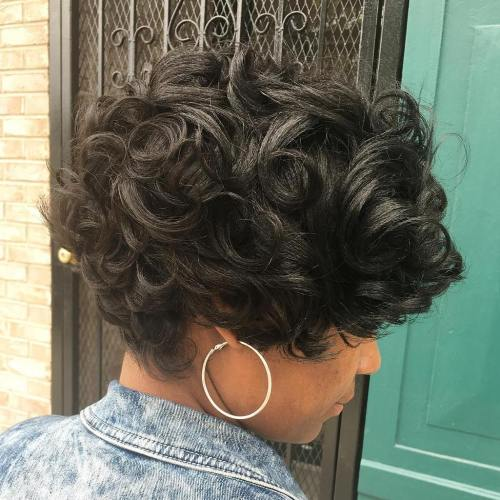 African American Long Curly Pixie
