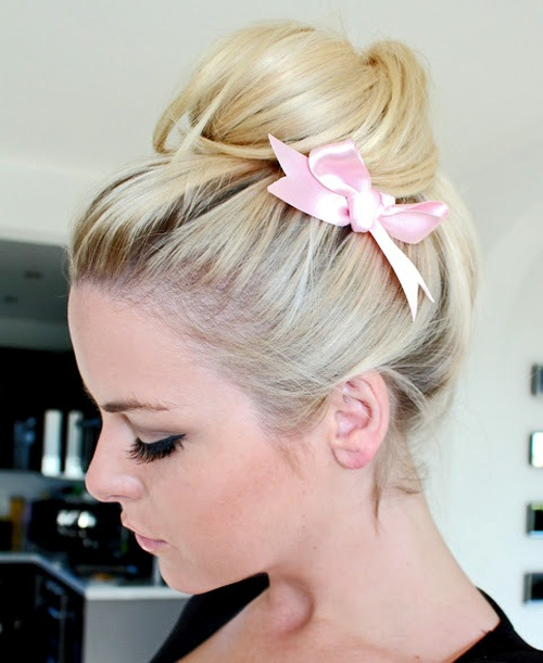homecoming updo with a high bun