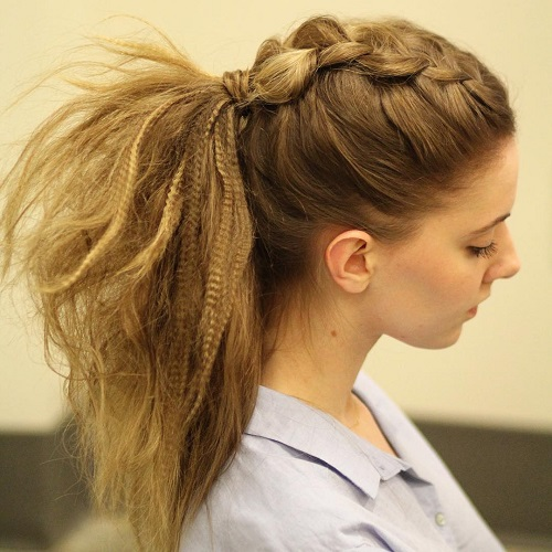 Casual Crimped Ponytail With Mohawk Braid