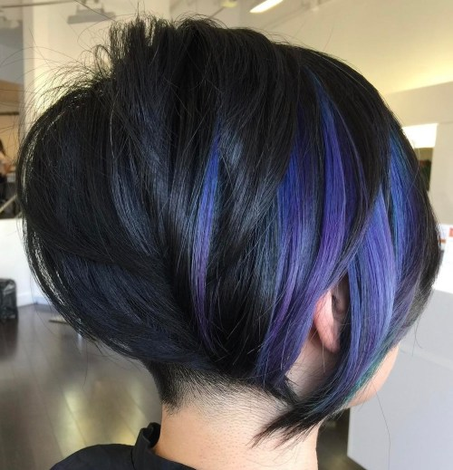 Black Bob With Purple Balayage